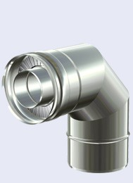 inox dubbelwandig bocht 90° 300-350mm