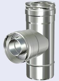 inox dubbelwandig T 90° 300-350mm
