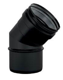 Zwart enkelwandige bocht 45 graden
