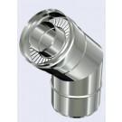 inox dubbelwandig bocht 45° 150-200mm