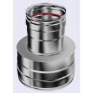 Inox reductie enkelwandig naar dubbelwandig 80mm 200-250mm V-V